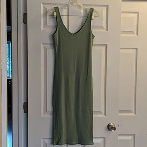 Forever 21 Light Green Ribbed Midi Dress S